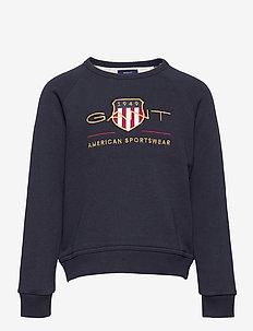 D1. ARCHIVE SHIELD C-NECK SWEAT - sweatshirts - evening blue