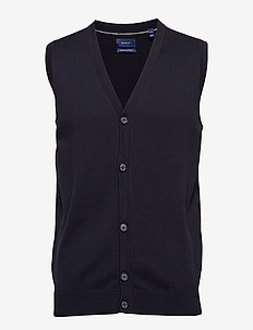 LT WEIGHT COTTON VEST - NAVY