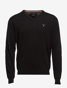 COTTON WOOL V-NECK - v-pullover - black