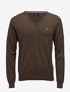 COTTON WOOL V-NECK - dark hazelnut melange