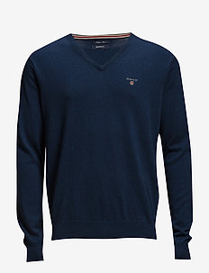 COTTON WOOL V-NECK - knitted v-necks - marine melange