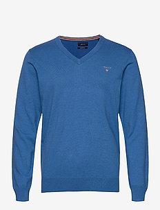 COTTON WOOL V-NECK - knitted v-necks - strong blue melange