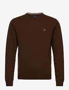 SUPERFINE LAMBSWOOL CREW - basic-strickmode - dk brown melange