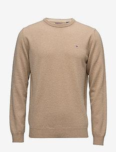 SUPERFINE LAMBSWOOL CREW - basic knitwear - dk. sand melange