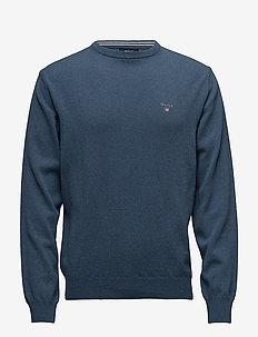 SUPERFINE LAMBSWOOL CREW - basic knitwear - stone blue melange