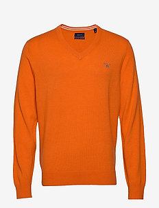 SUPERFINE LAMBSWOOL V-NECK - basic gebreide truien - harvest pumpkin