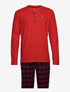 PJ SET FLANNEL PANTS/HENLEY G.BOX - RED