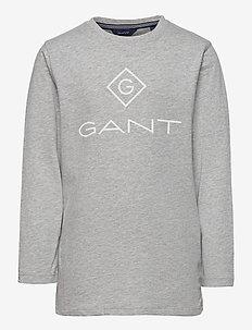 GANT LOCK-UP LS T-SHIRT - lange mouwen - light grey melange