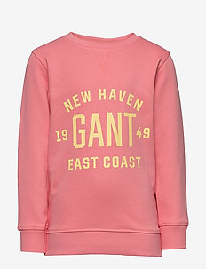 D2. GANT EAST COST C-NECK SWEAT - sweatshirts - strawberry pink