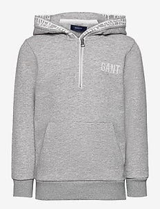 D1. GANT EST. HALF ZIP HOODIE - hoodies - light grey melange