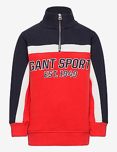 D1. GANT SPORT HALF ZIP - sweatshirts - atomic orange