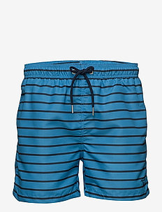 BRETON STRIPE SWIM SHORTS C.F. - shorts - aster blue