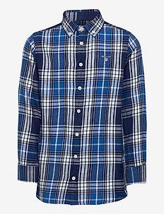 D1. FLANNEL INDIGO CHECK SHIRT - shirts - strong blue