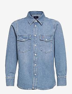 D2. OVERSIZED DENIM SHIRT - shirts - mid blue