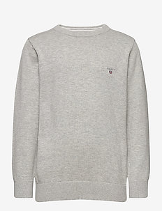 D1.  LT WT COTTON CREW - LIGHT GREY MELANGE
