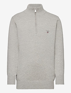 D1.  WEIGHT COTTON HALF ZIP - LIGHT GREY MELANGE