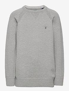 CASUAL COTTON CREW - strik - light grey melange