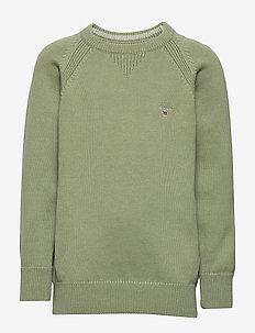 CASUAL COTTON CREW - knitwear - oil green