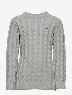 COTTON CABLE CREW - knitwear - light grey melange