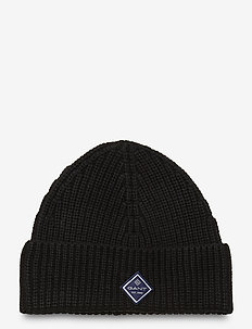 D1. COTTON RIB KNIT HAT - luer - black