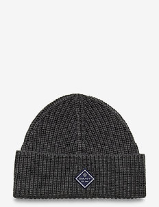 D1. COTTON RIB KNIT HAT - luer - charcoal melange