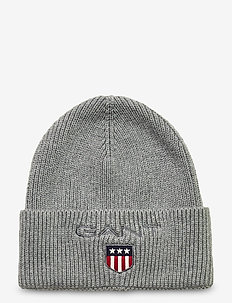 D1. MEDIUM SHIELD RIB BEANIE - hats - light grey melange