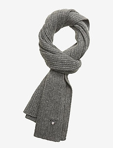 D1. WOOL KNIT SCARF - DARK GREY MELANGE