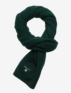 D1. WOOL KNIT SCARF - TARTAN GREEN