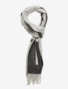 D1. LOGO WOOL SCARF - LIGHT GREY MELANGE