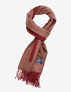 D1. LOGO WOOL SCARF - MAHOGNY RED