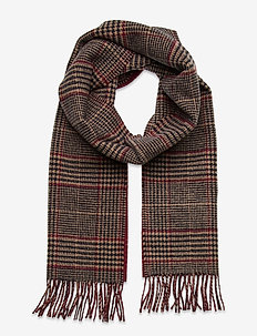 D1. GLENCHECK WOOL SCARF - scarves - port red