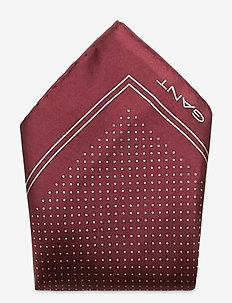 D1. DOT SILK POCKETSQUARE - pocket squares - port red