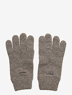 KNITTED WOOL GLOVES - hansker - dark grey melange