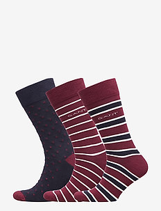 O1. 3-PACK MIXED SOCKS - PORT RED