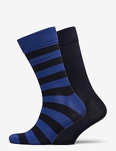 2-PACK BARSTRIPE AND SOLID SOCKS - regular socks - crisp blue