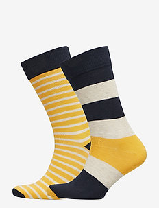 D1. 2-PACK STRIPED SOCKS - HONEY GOLD