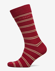 D1. COLLEGIATE STRIPE SOCKS - MAHOGNY RED