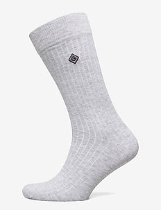 D1. SOLID RIB SOCK EMB SOCKS - regular socks - light grey melange
