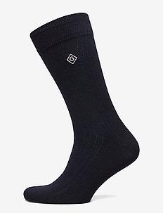 D1. SOLID RIB SOCK EMB SOCKS - regular socks - marine
