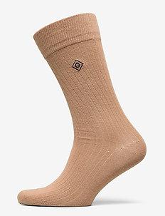 D1. SOLID RIB SOCK EMB SOCKS - regular socks - warm khaki