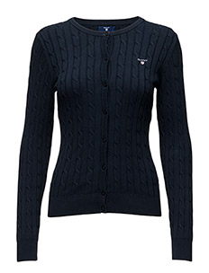 STRETCH COTTON CABLE CREW CARDIGAN - EVENING BLUE