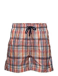 PASTEL CHECK SWIM SHORTS C.F. - STRONG CORAL