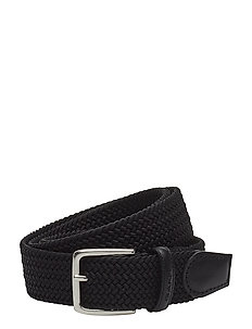 ELASTIC BRAID BELT - flettede belter - black