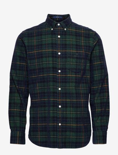 D1. REG CORDUROY CHECK BD - casual shirts - tartan green