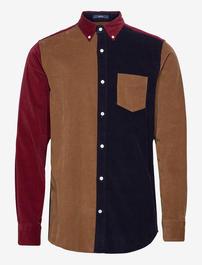 D1. REG BLOCKED CORDUROY BD - casual shirts - roasted walnut