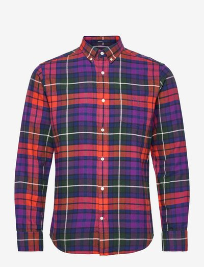 D1. REG FLANNEL CHECK BD - rutiga skjortor - imperial purple