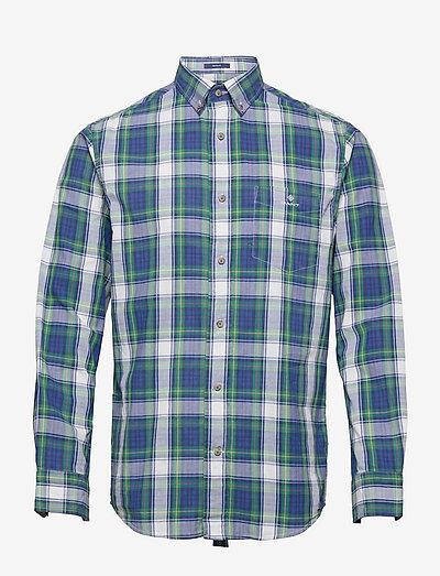 D1. REG WASHED BC CHECK BD - koszule w kratkę - lavish green