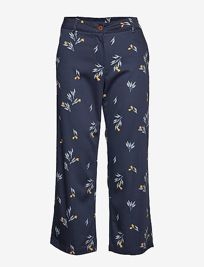 D1. CROPPED SLIM SLOUCH - wide leg trousers - marine