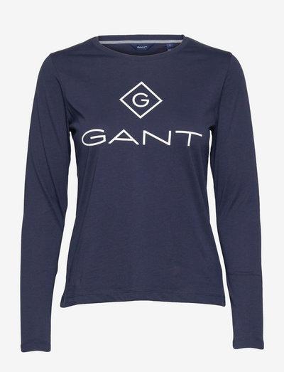D1. GANT LOCK UP LS T-SHIRT - long-sleeved tops - evening blue