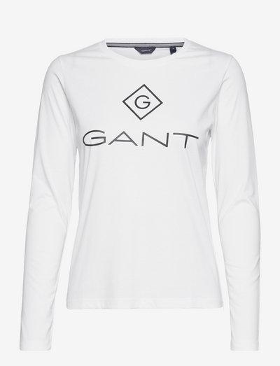 D1. GANT LOCK UP LS T-SHIRT - long-sleeved tops - white